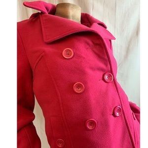 Full Tilt Hot Pink Hooded Pea Coat M